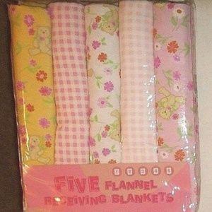 Other - Vintage 5 Pc Set Combed Cotton Flannel Blanket